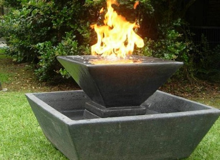 Square concrete fire bowl with water feature by Outdoor Fire and Patio