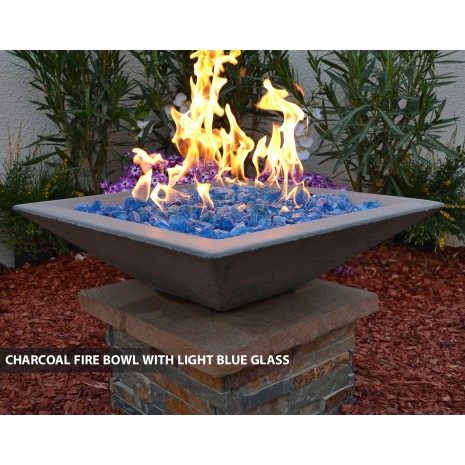 Concrete Fire Bowls Square 24""