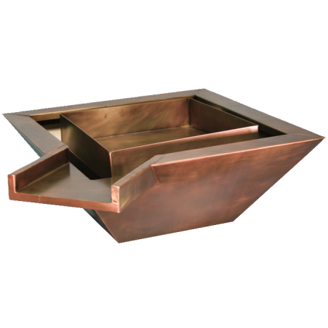 """Copper fire and water square bowl 42"""" X 42"""" X 8"""" Corner Spillway"""