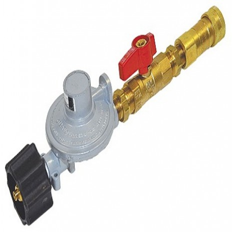 Propane Regulator with Quick Disconnect and Valve.
