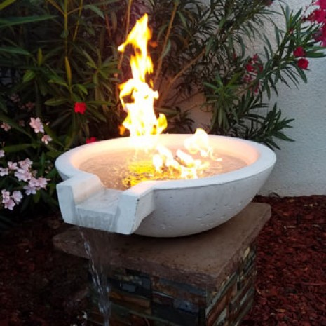 Concrete Fire Bowls Round With Scupper 21""
