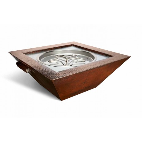 "Hammered Copper Fire and Water Bowl. Square with Scupper. 40""x40"" x16"". Automated"