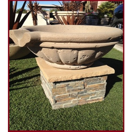 Concrete Fire Bowls Ledgestone Pedestal 15''
