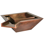 "Copper fire and water square bowl 20"" X 20"" X 8"" Corner Spillway"
