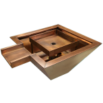 "Copper fire and water square bowl 20"" X 20"" X 8"" Side Spillway"