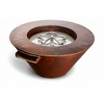 "Hammered Copper Fire and Water Bowl. Round with Scupper. 32""x15"". Match Light"