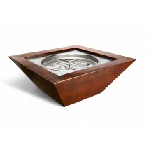 "Hammered Copper Fire Bowl. Square. 40""x40""x16"". Match Light"