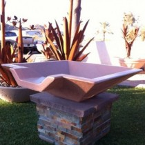 "Concrete Fire Bowls Square with Scupper 24"""